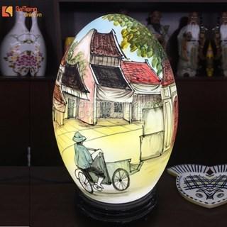 Đèn trang trí vẽ cảnh phố cổ Hà Nội - cao 32cm
