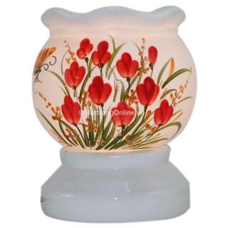 Đèn xông tinh dầu hoa đỏ - dáng sóng - vẽ tay - men trắng