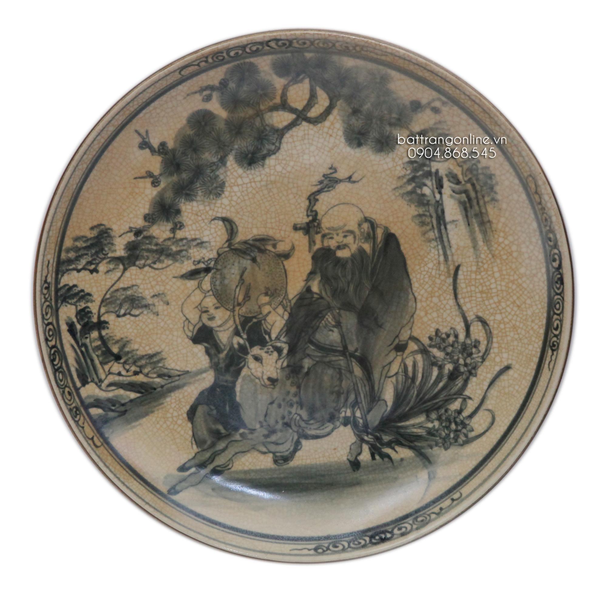 Đĩa cảnh - men rạn cổ - vẽ tay - 04 - đường kính 35cm