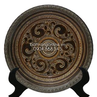 Đĩa cảnh - men rạn cổ - viền đắp nổi - 01 - đường kính 35cm