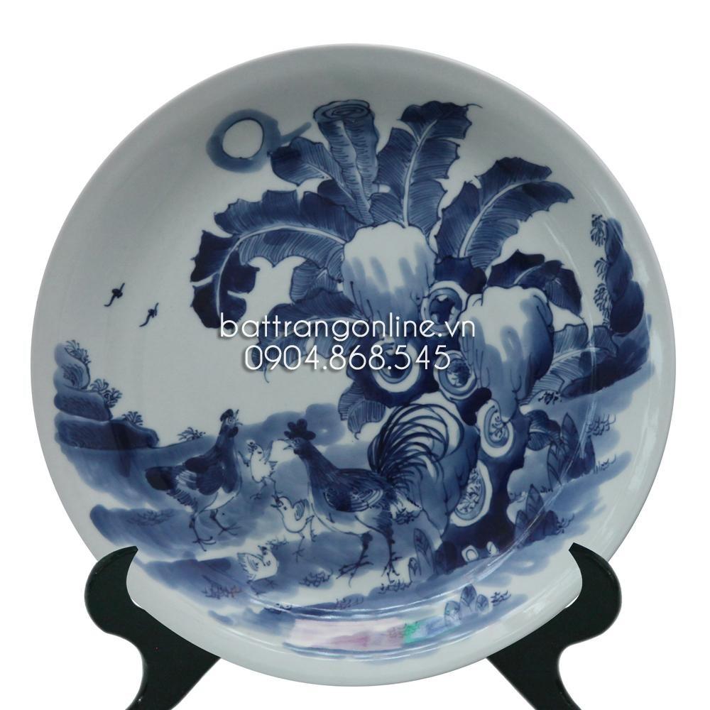 Đĩa cảnh vẽ Tiêu kê - men lam cổ - đường kính 43cm