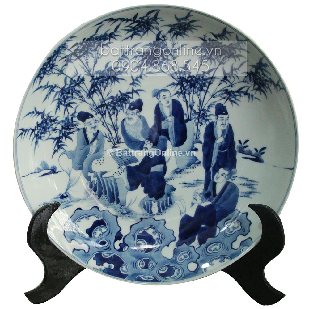 Đĩa cảnh vẽ Trúc Lâm Thất Hiền - men lam cổ - đường kính 35cm