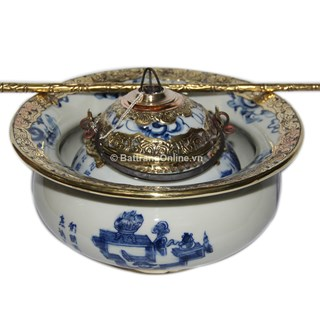 Điếu bát bọc đồng - vẽ cổ đồ - men lam cổ - dáng thắt - đường kính 20 cm
