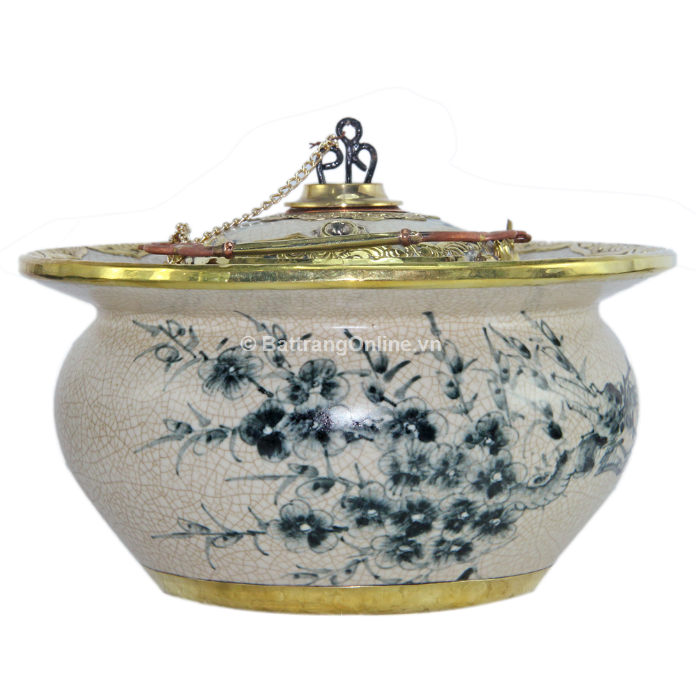 Điếu bát bọc đồng vẽ hoa đào hóa phượng - men rạn cổ