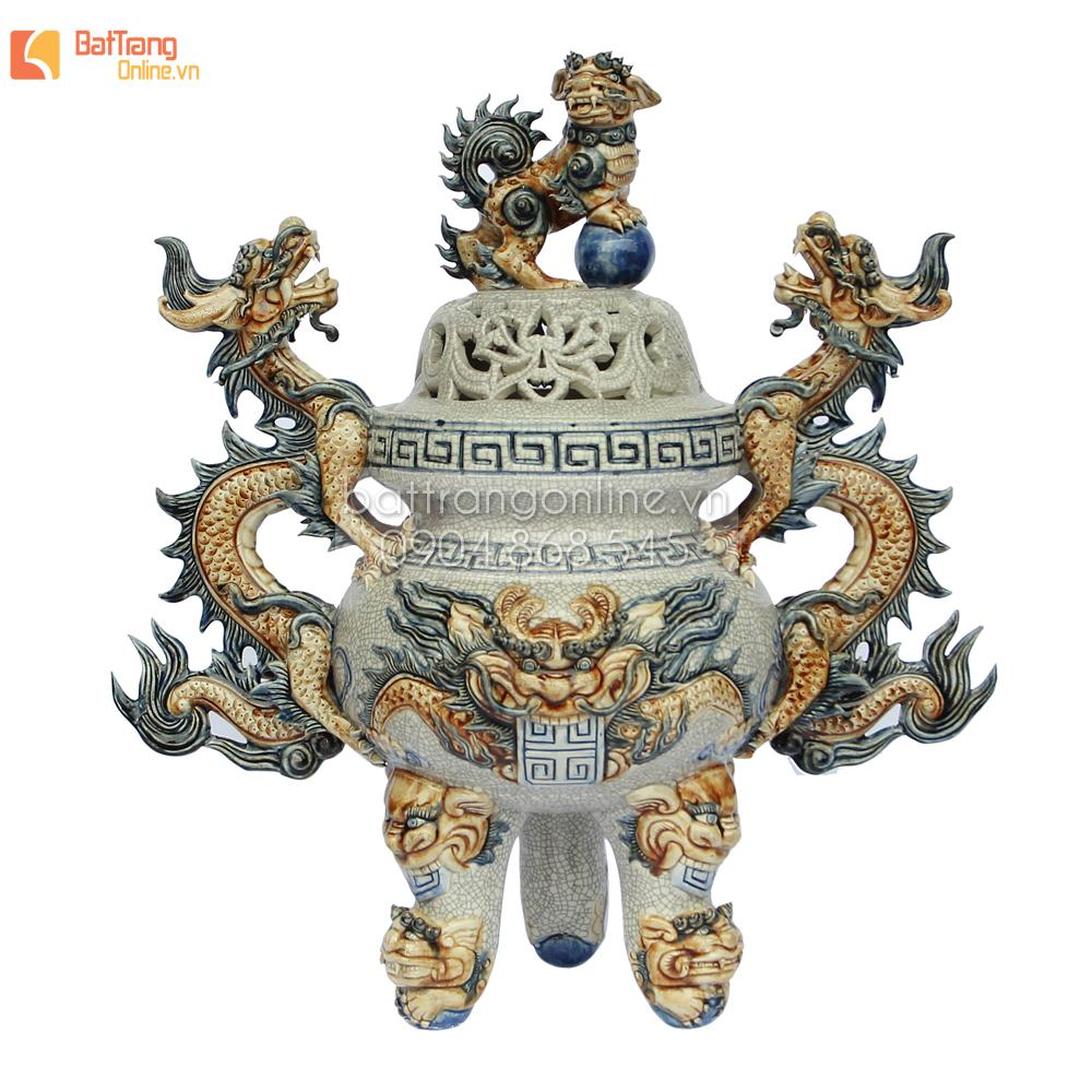 Đỉnh thờ tam sự đắp nổi họa tiết rồng men rạn cổ - cao 45 cm