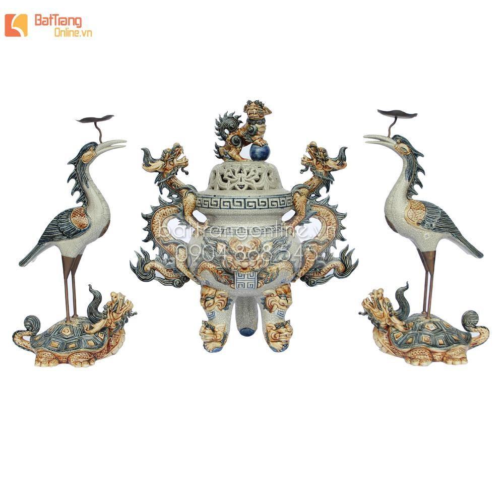 Đỉnh thờ tam sự - đắp nổi họa tiết rồng - men rạn cổ - cao 65 cm