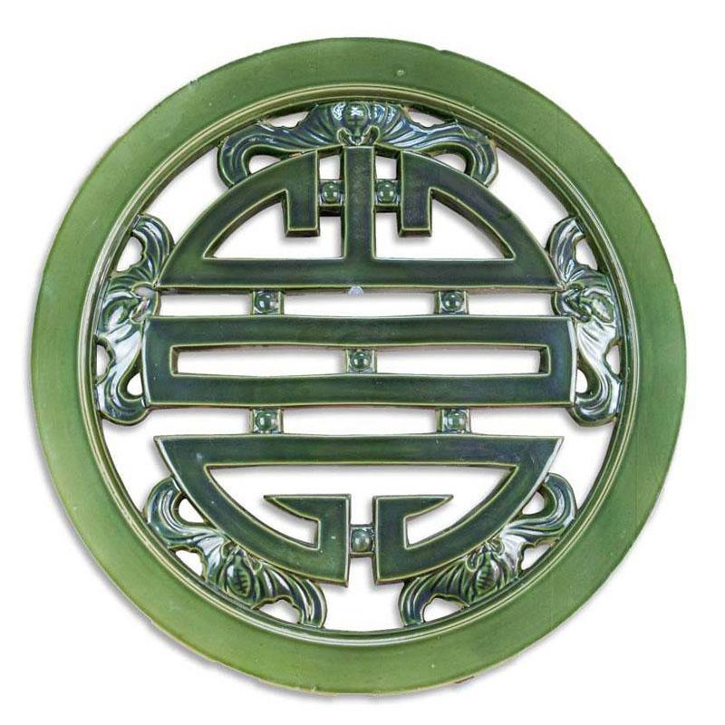 Gạch Tròn Chữ Thọ - Nâu da lươnXanh đồng - THC 308