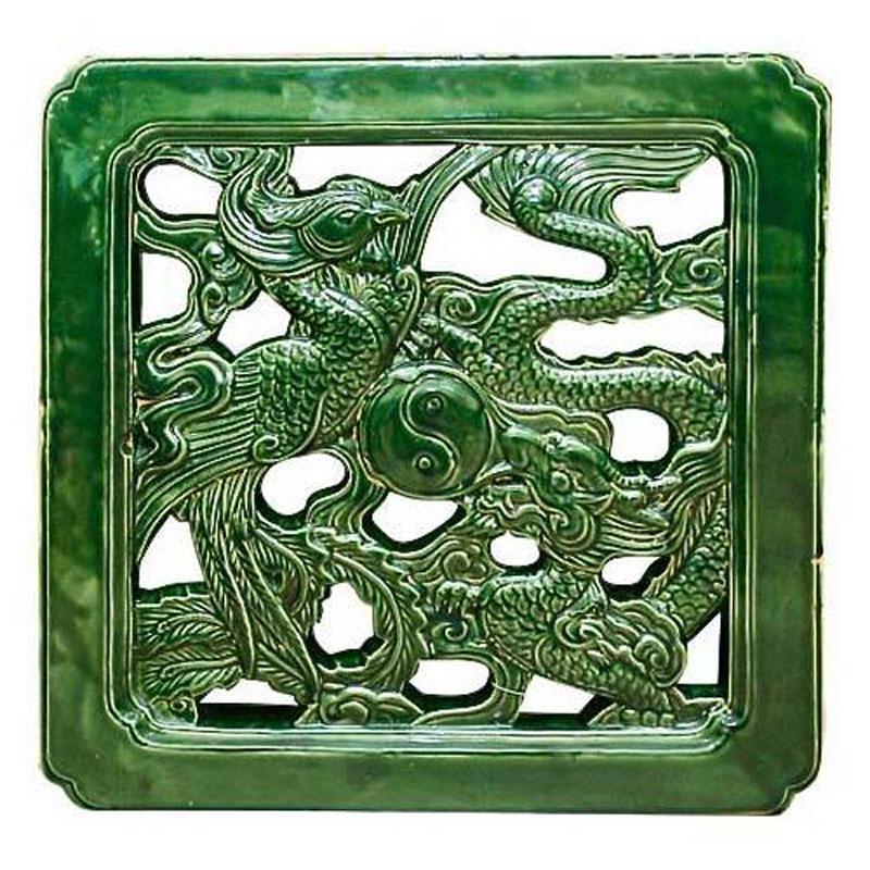Gạch Vuông Rồng Phượng - Nâu khôXanh đồng - THC 309