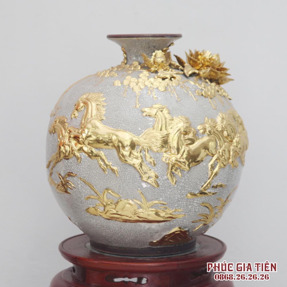 Bình hút tài lộc đắp nổi mã đáo thành công - men rạn cổ - dát vàng 18k - cao 40cm