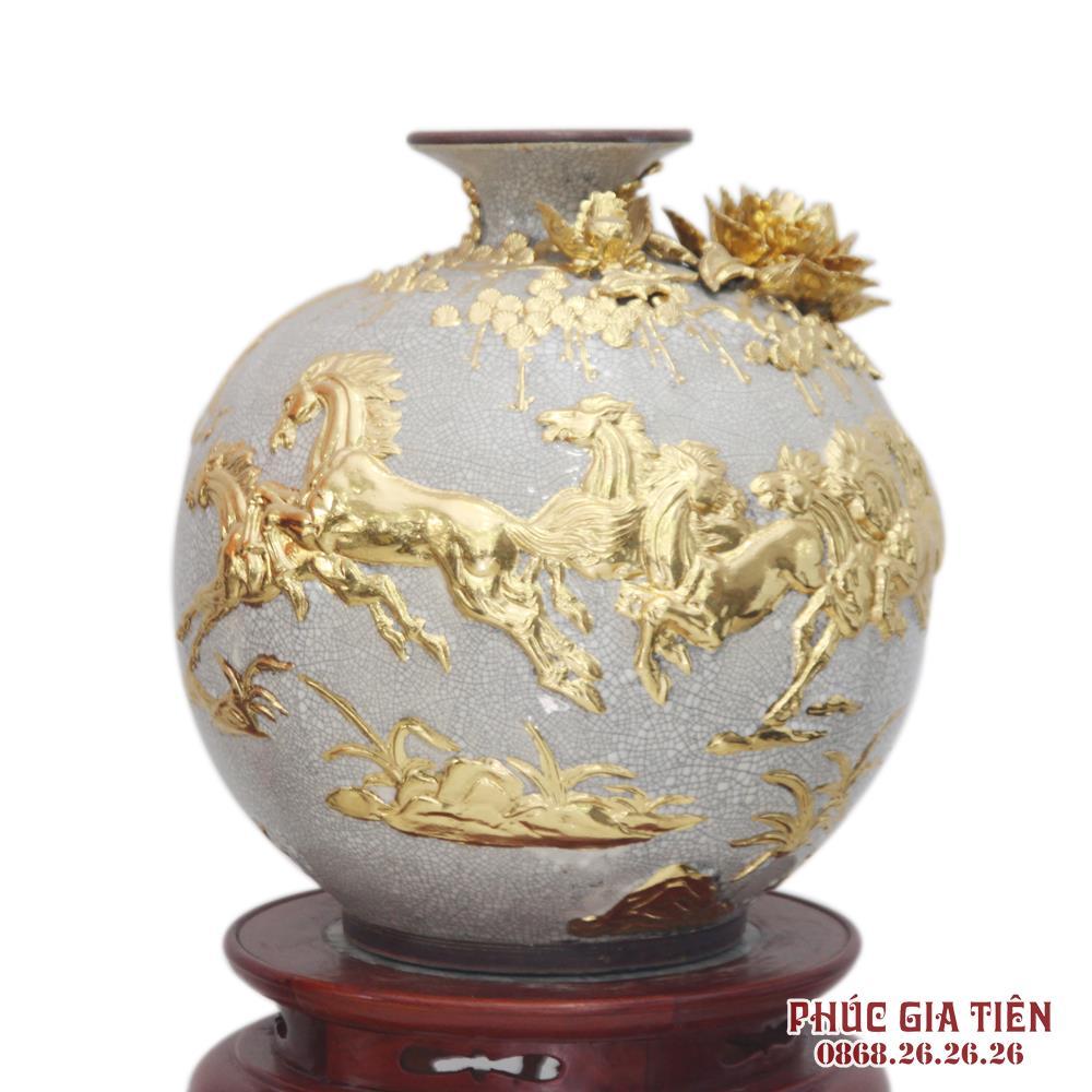 Bình hút tài lộc đắp nổi mã đáo thành công - men rạn cổ - rát vàng 24k - cao 40cm