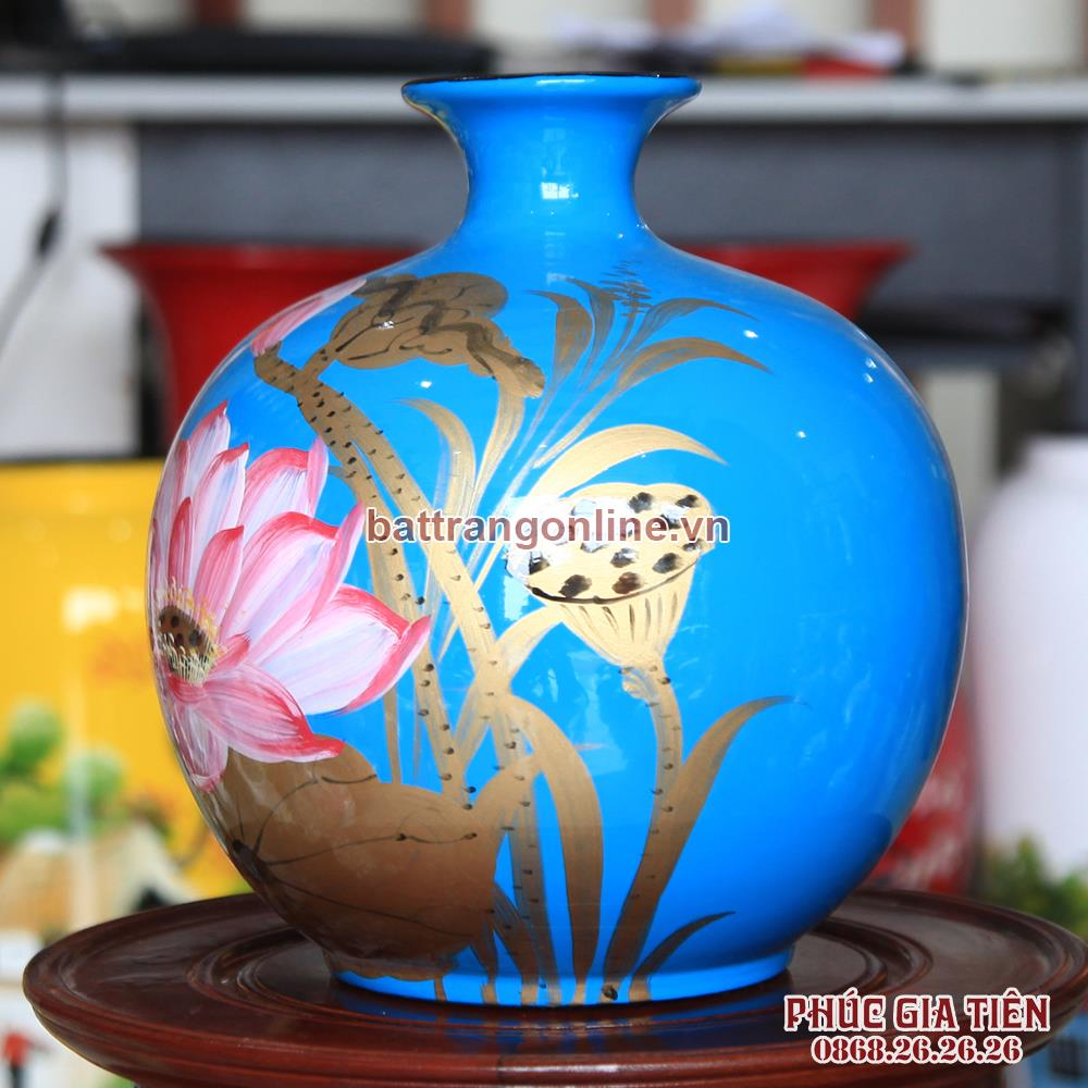 Bình sơn mài hút lộc vẽ hoa sen nền xanh cao 22cm