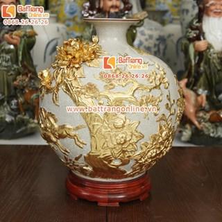Bình hút tài lộc mã đáo thành công - dát vàng 9999 - cao 40cm
