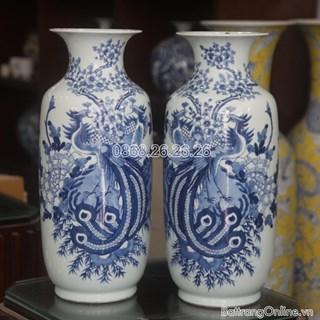 Lục bình - vẽ Công Đào men lam - cao 52 cm, đường kính miệng 18cm