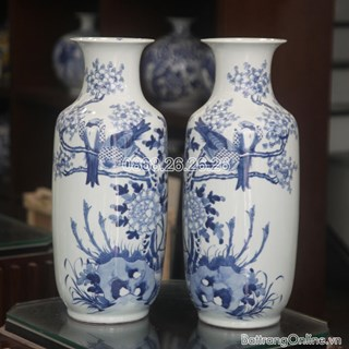 Lục bình - chim Trĩ hoa Phù Dung - men lam - cao 52 cm, đường kính miệng 16cm