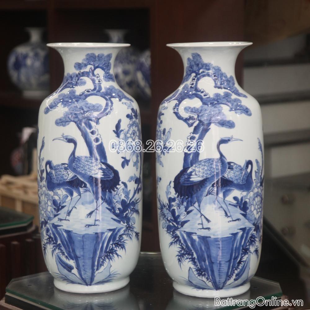 Lục bình - Tùng Hạc- men lam - cao 52 cm, đường kính miệng 16cm