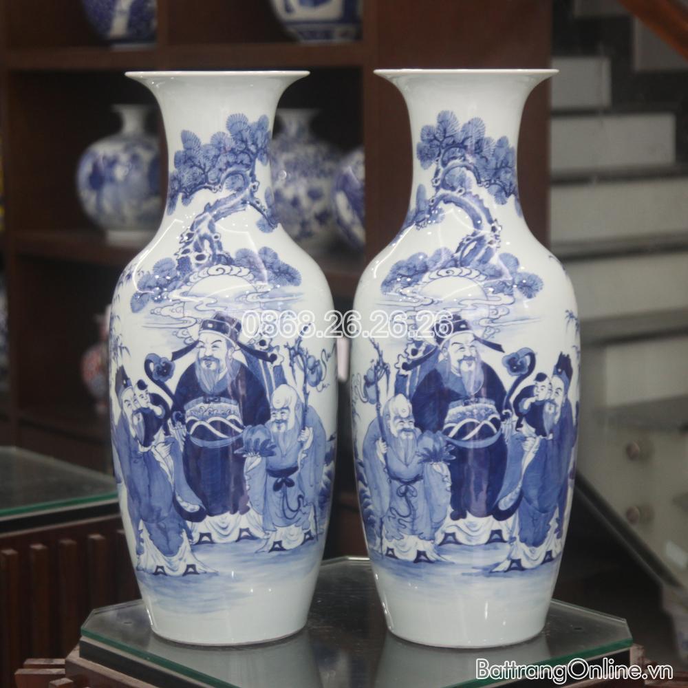 Lộc bình- Phúc Lộc Thọ - men lam- cao 60cm