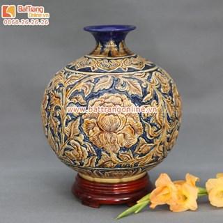 bóng hút tài - hút lộc - khắc nổi hoa dây màu vàng - cao 32cm rộng 30cm