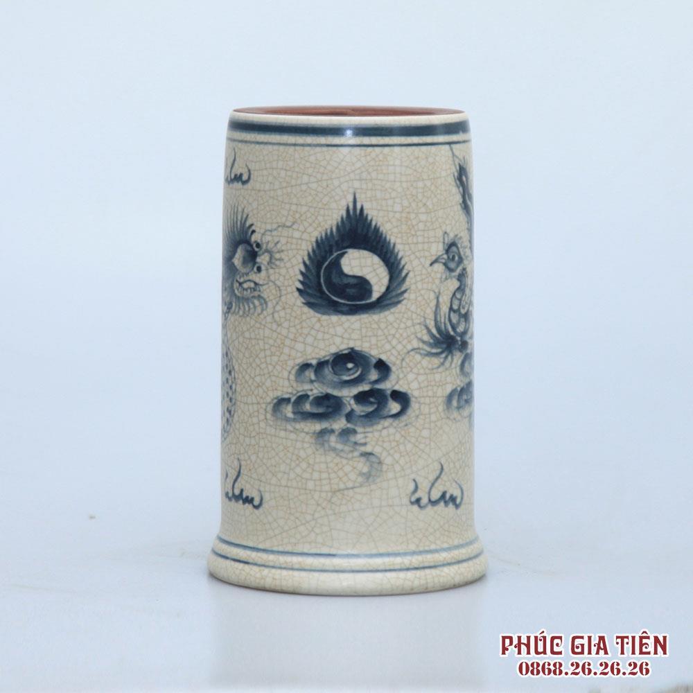 Ống hương men rạn vẽ rồng - cao 20cm