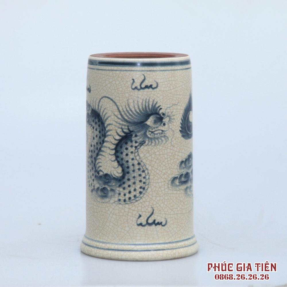 Ống hương men rạn vẽ rồng - cao 25cm