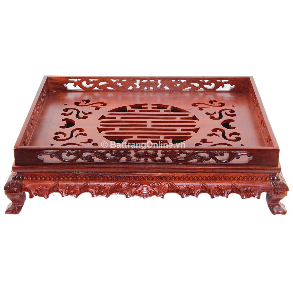 Khay đựng ấm chén gỗ hương cao cấp 3 - 43cmx33cm