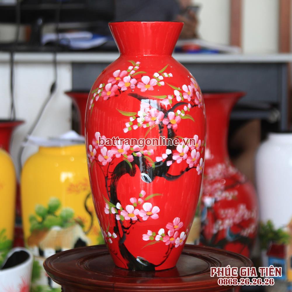 Bình sơn mài dáng thắt vẽ hoa đào đỏ cao 33cm