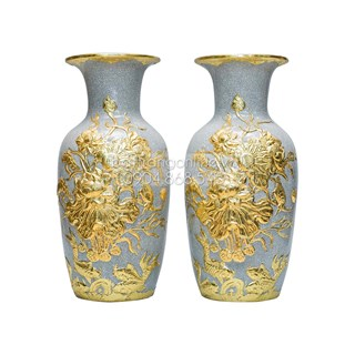 Đôi lọ lộc bình đắp nổi hoa sen dát vàng cao 50cm