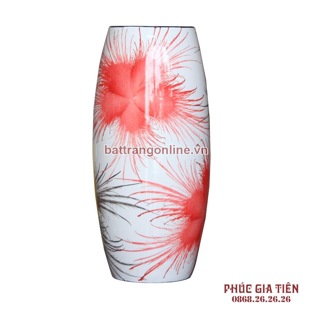 Bình sơn mài bom hoa bông trắng cao 31cm