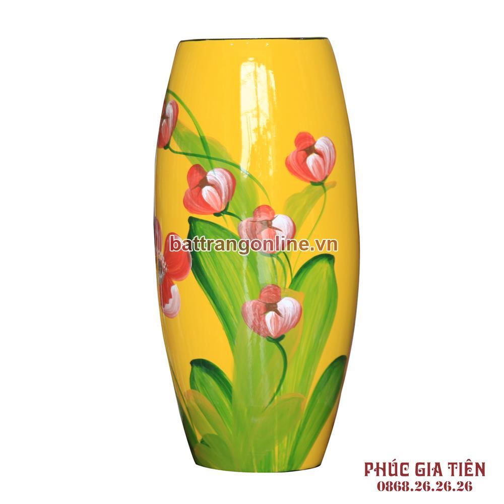 Bình sơn mài bom hoa nền vàng cao 31cm