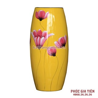 Bình sơn mài bom hoa lan nền vàng cao 31cm