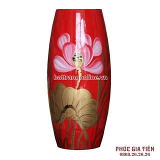 Bình sơn mài bom hoa sen nền đỏ cao 31cm