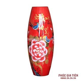 Bình sơn mài bom hoa mẫu đơn nền đỏ cao 40cm