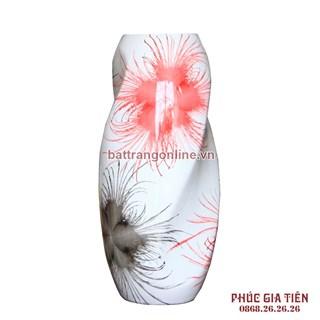 Bình sơn mài dáng xoắn vẽ hoa bông nền trắng cao 37cm