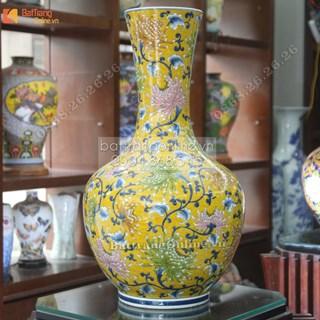 Bình sứ phong thủy vẽ liên hoa như ý- cao 70cm