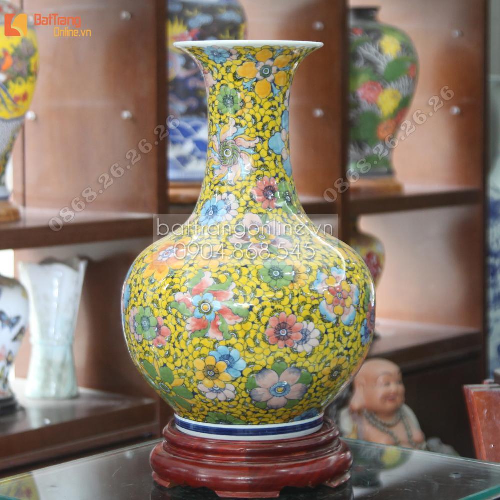 Bình sứ vẽ Bách hoa hợp vũ- cao 45cm