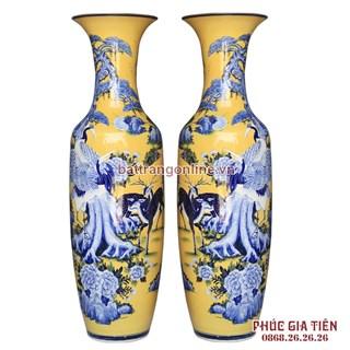 lộc bình bát tràng vẽ bách hạc men màu nền vàng cao 1.55m