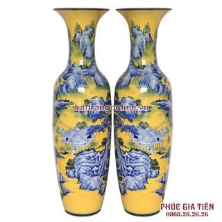 Lộc bình bát tràng sơn thủy vẽ kỹ men màu nền vàng 1.55m