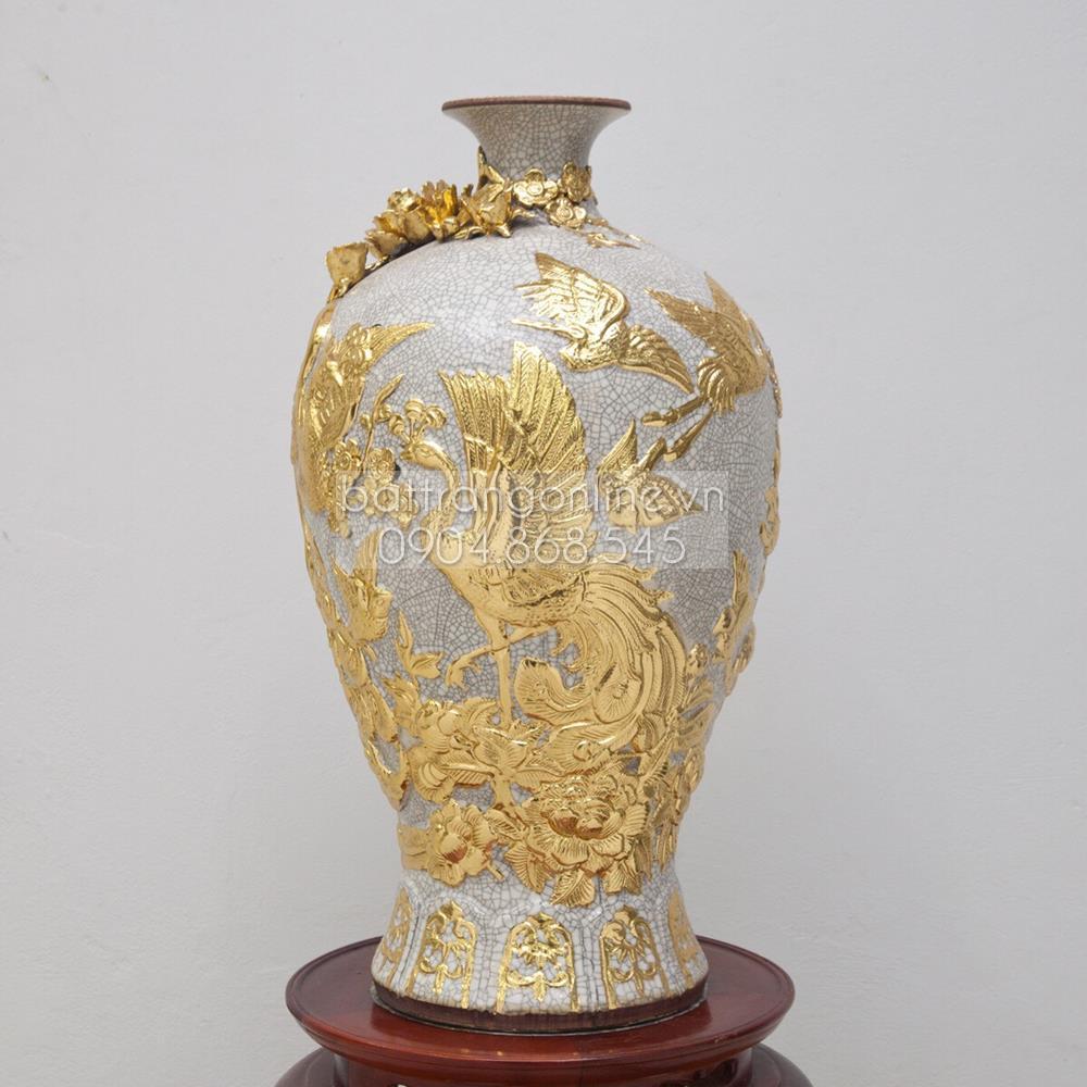 Mai bình đắp nổi chim công - men rạn cổ - dát vàng 18k