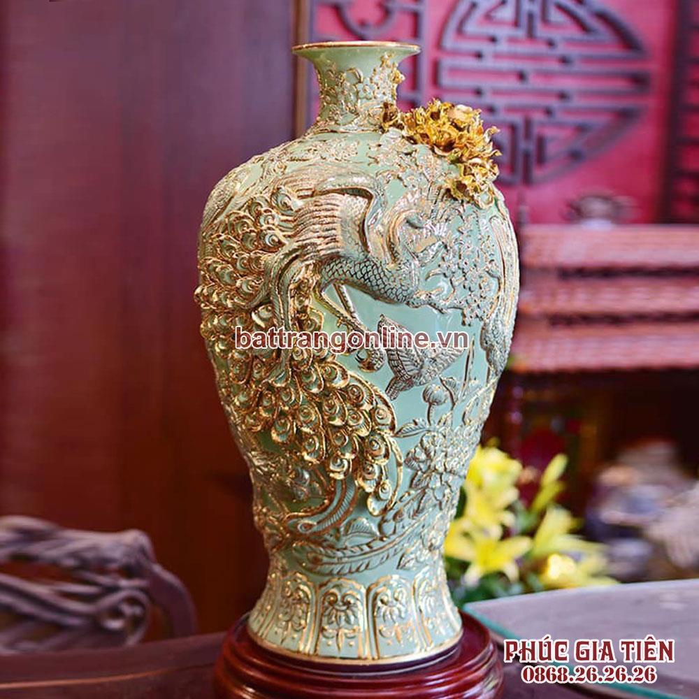 Mai bình tài lộc đắp nổi chim công vẽ vàng nền xanh ngọc cao 52cm