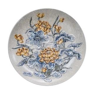 Mâm bồng men rạn cổ đắp nổi hoa sen - đường kính 27 cm