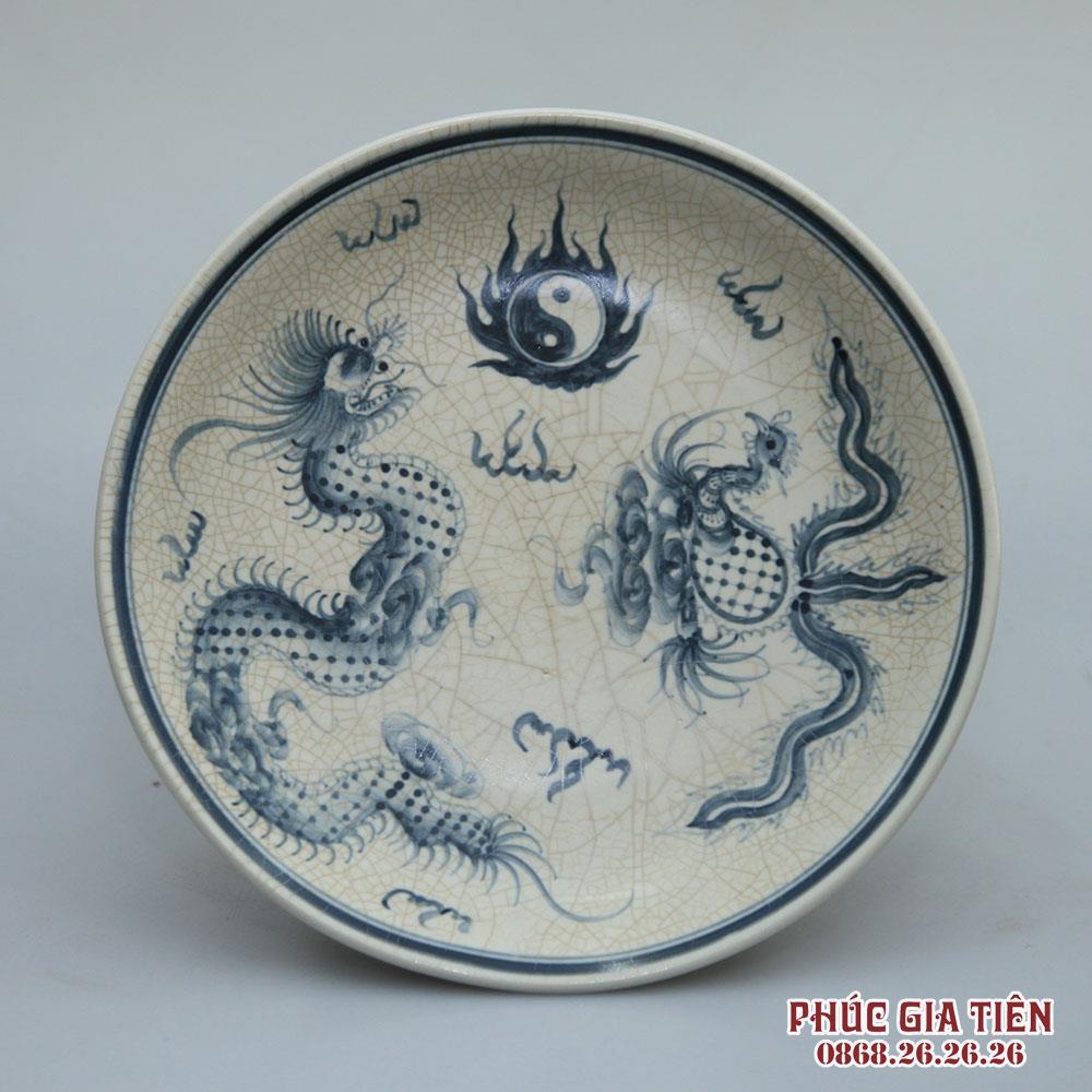 Mâm bồng men rạn vẽ rồng phượng - đường kính 25cm