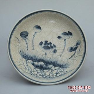Mâm bồng men rạn vẽ hoa sen - đường kính 32cm