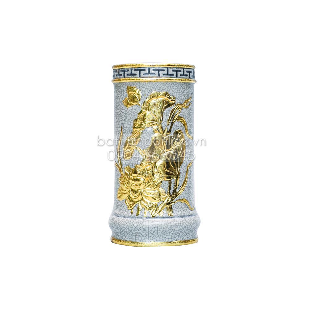 Ống hương đắp nổi hoa sen dát vàng cao 19cm