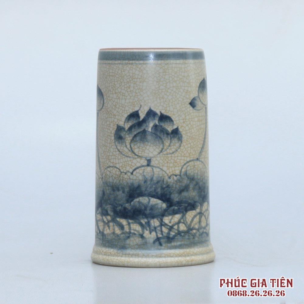 Ống hương men rạn vẽ sen - cao 16cm