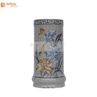 Ống đựng hương đắp nổi hoa sen - men rạn cổ - cao 21cm
