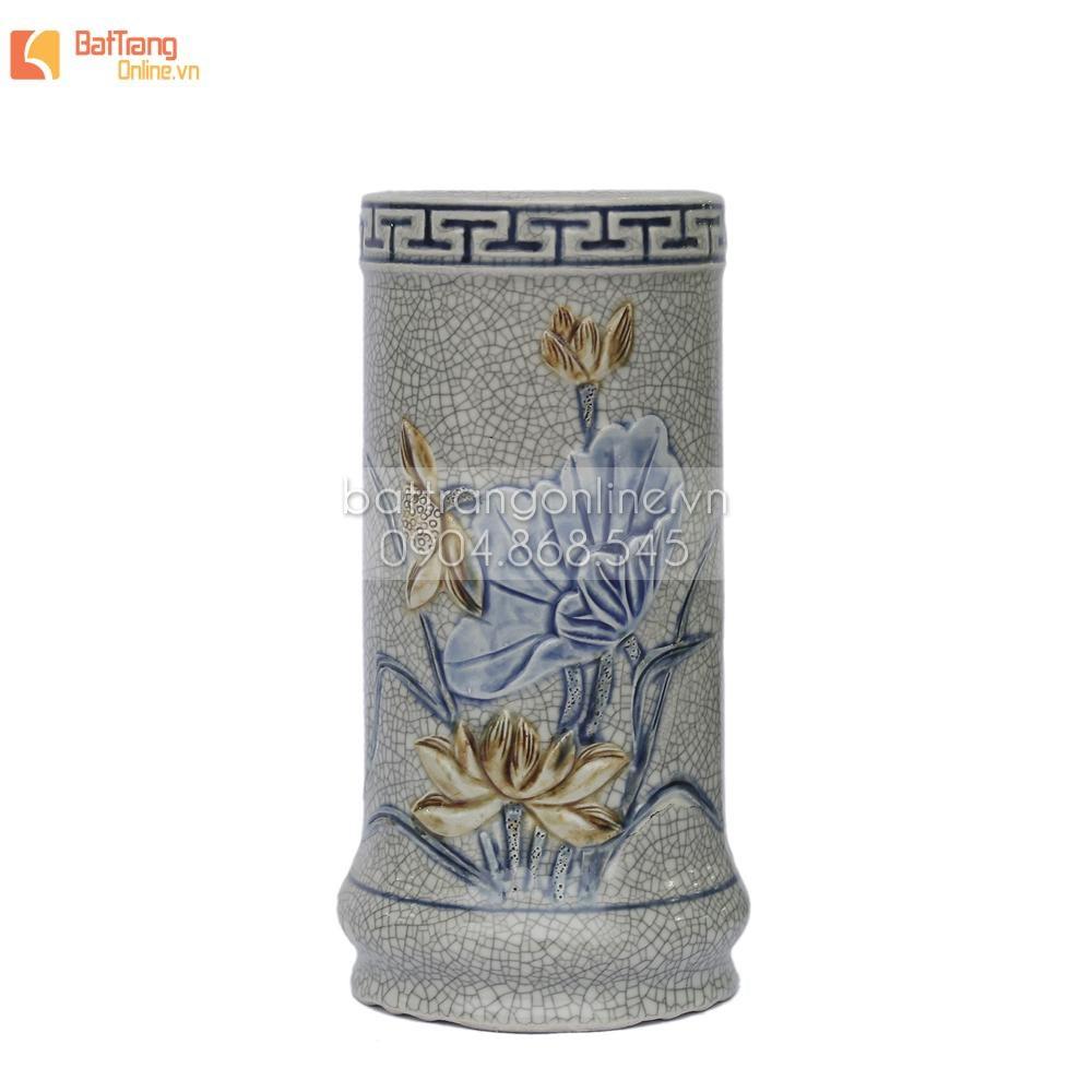 Ống đựng hương men rạn đắp nổi hoa sen - cao 17 cm