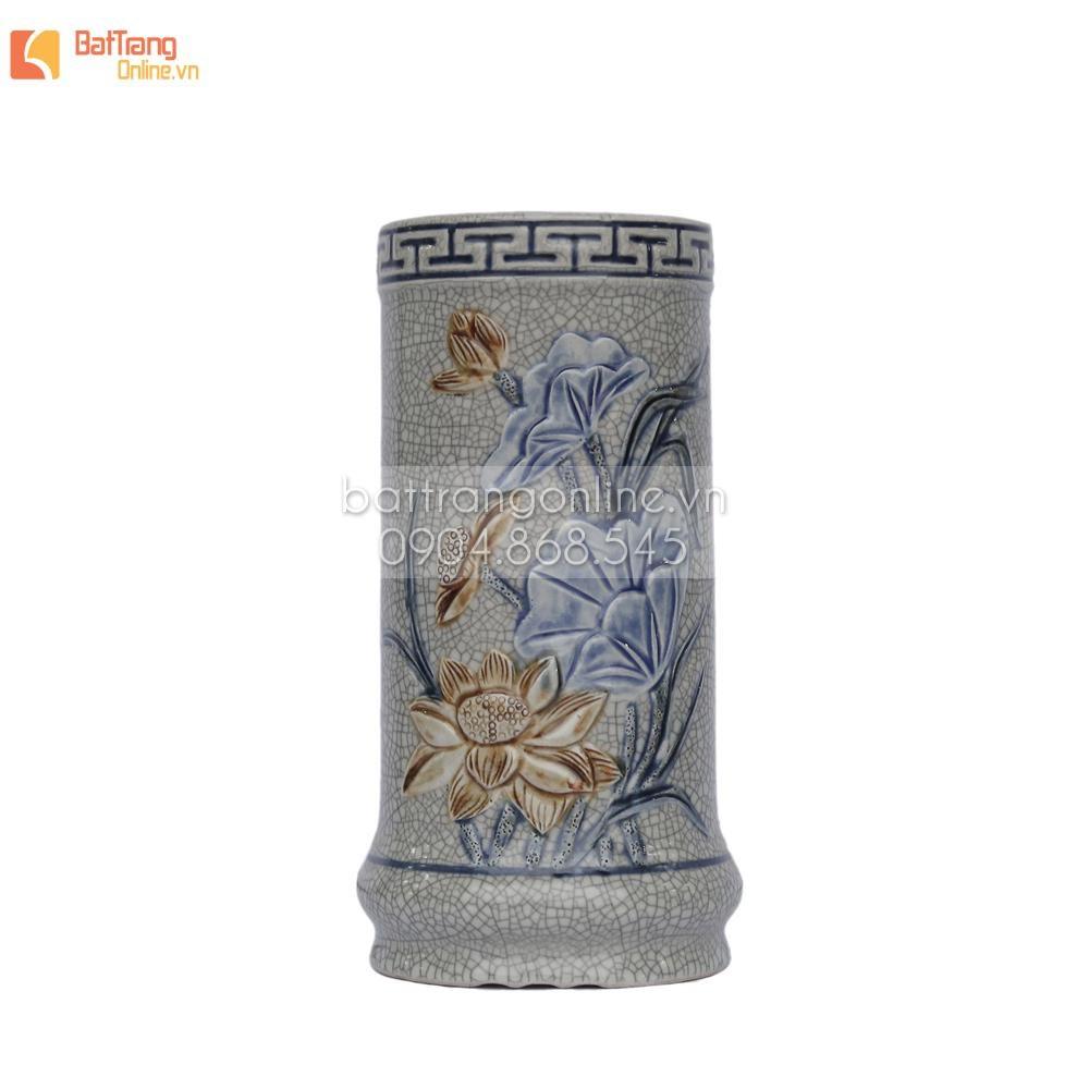 Ống đựng hương men rạn đắp nổi hoa sen - cao 19 cm