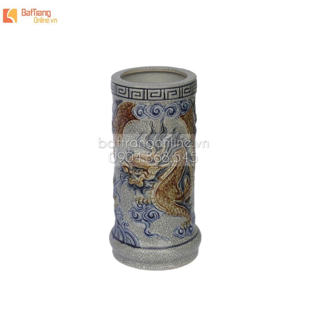 Ống cắm hương men rạn đắp nổi rồng, cao 17 cm