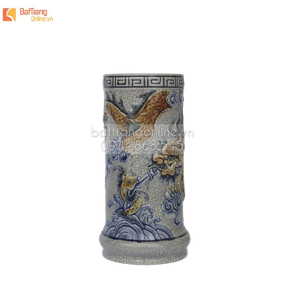 Ống hương Rồng nổi - men rạn cổ - cao 17 cm - đường kính 8 cm