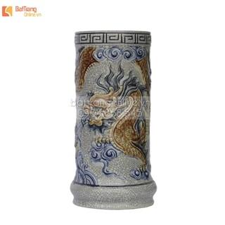 Ống hương Rồng nổi - men rạn cổ - cao 19 cm - đường kính 8 cm