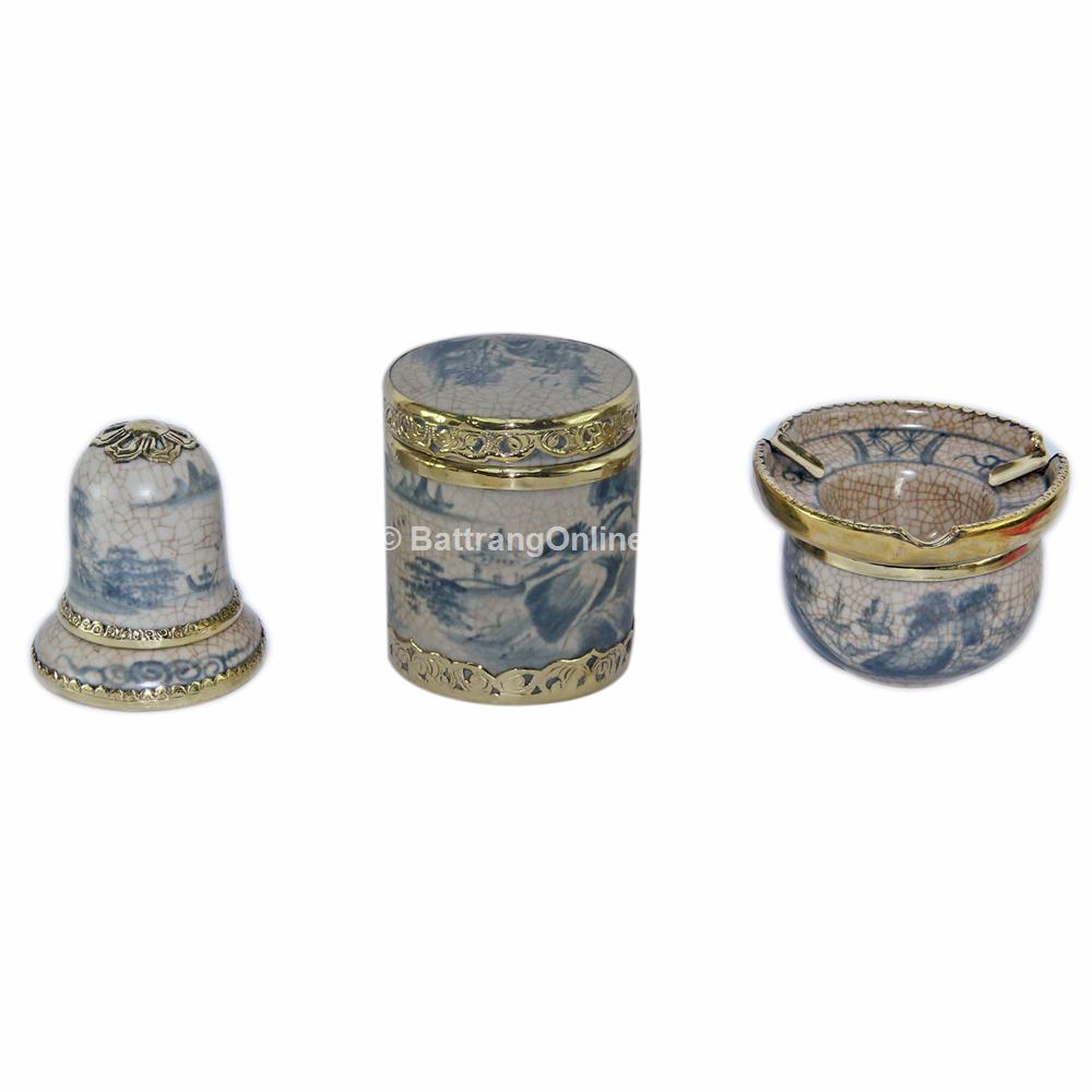Bộ phụ kiện gốm - gạt tàn - lọ chè tròn - ống tăm - men rạn